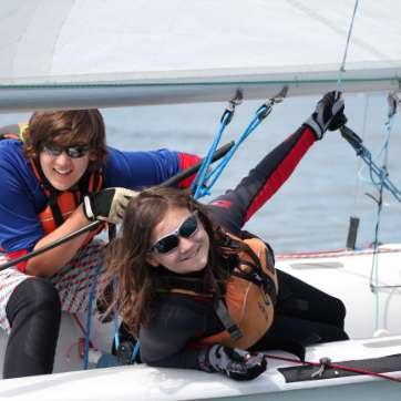 instructor and student learning to sail
